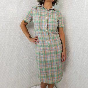 Vintage 1970s/1980s Bayard Sport plaid shirt dress